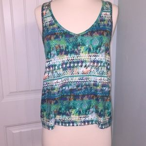 Route 66 t-back sleeveless tank in blues & greens